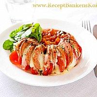 Quorn Middagskorv i ugn med ratatouille, dijon och mozarella