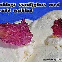 Gammaldags vaniljglass med kanderade rosenblad